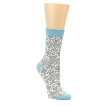 Image of Grey White Patterned Women's Dress Socks (side-1-front-01)