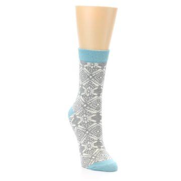 Image of Grey White Patterned Women's Dress Socks (side-1-front-02)