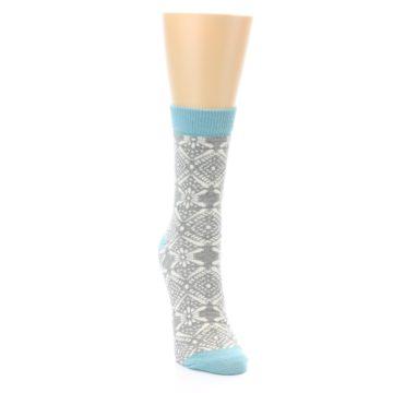Image of Grey White Patterned Women's Dress Socks (side-1-front-03)