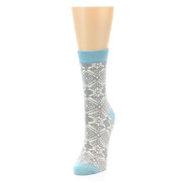 Image of Grey White Patterned Women's Dress Socks (side-2-front-07)