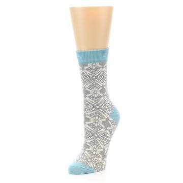 Image of Grey White Patterned Women's Dress Socks (side-2-front-08)