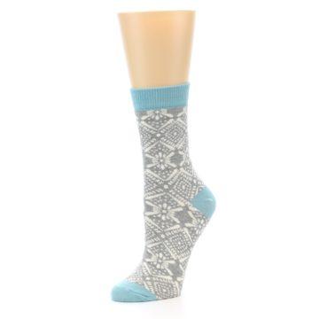 Image of Grey White Patterned Women's Dress Socks (side-2-09)