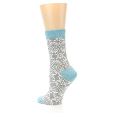 Image of Grey White Patterned Women's Dress Socks (side-2-back-14)