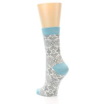 Image of Grey White Patterned Women's Dress Socks (side-2-back-15)