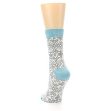 Image of Grey White Patterned Women's Dress Socks (side-2-back-16)