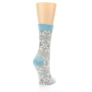 Image of Grey White Patterned Women's Dress Socks (side-1-back-21)