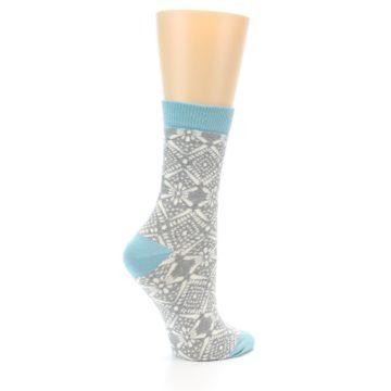 Image of Grey White Patterned Women's Dress Socks (side-1-23)