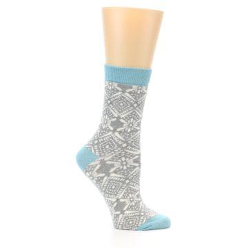 Image of Grey White Patterned Women's Dress Socks (side-1-25)