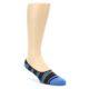 Image of Navy Blue Grey Stripe & Solid Men's No-See-Um 2 Pack Socks (side-1-front-02)