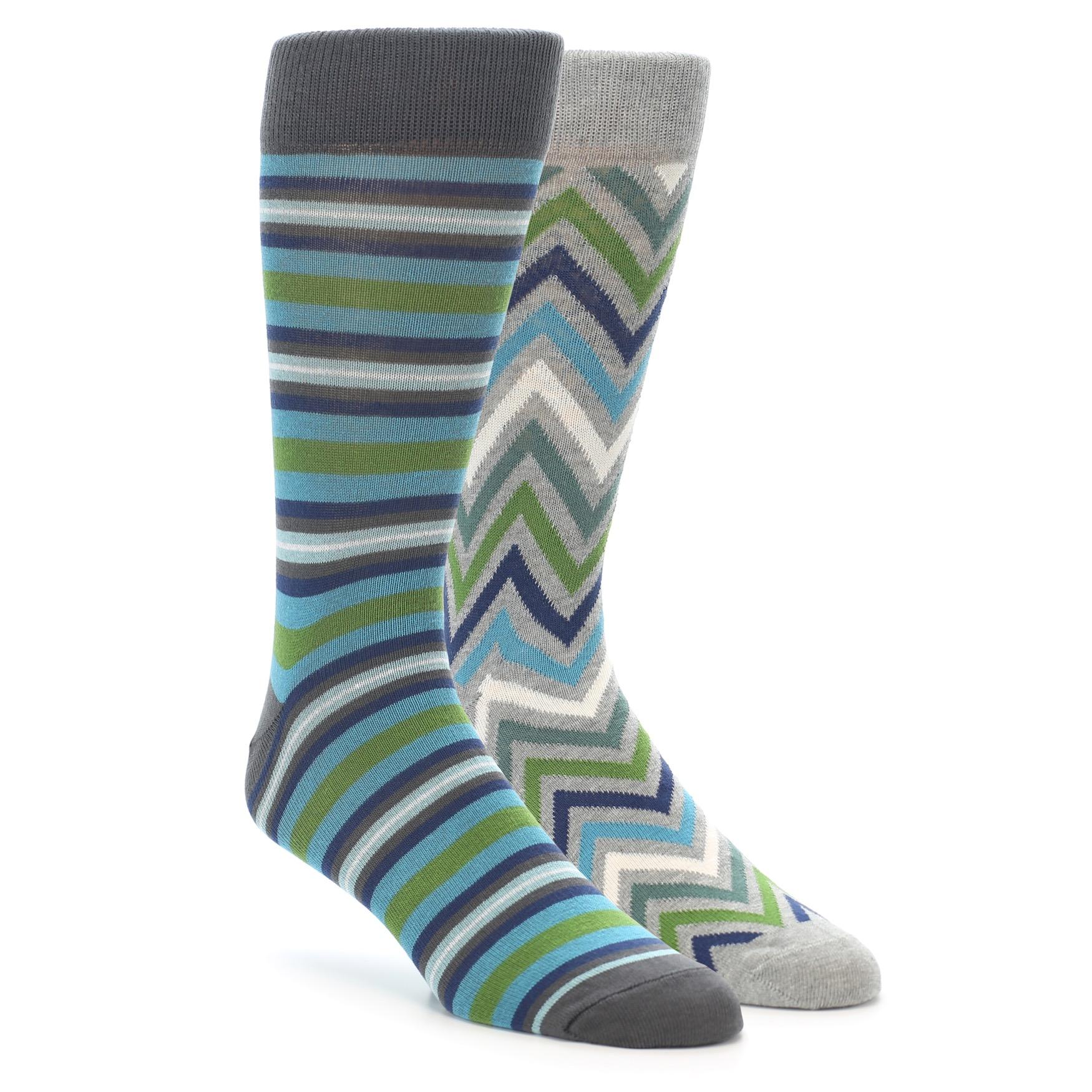 1d7c4cb1a0046 Grey Blue Green Stripe Men's Dress Socks 2 Pack   boldSOCKS