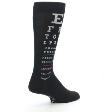 Image of Black White Doctor Eye Chart Men's Dress Socks (side-1-back-22)