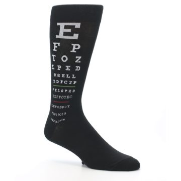 Image of Black White Doctor Eye Chart Men's Dress Socks (side-1-26)