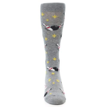 Image of Grey Bowling Men's Dress Socks (front-04)