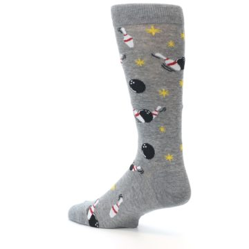 Image of Grey Bowling Men's Dress Socks (side-2-back-14)