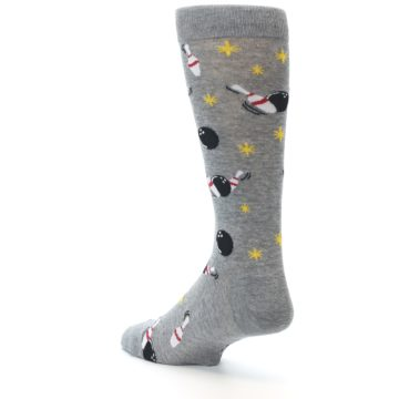 Image of Grey Bowling Men's Dress Socks (side-2-back-15)