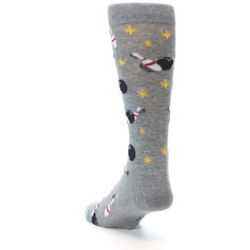 Image of Grey Bowling Men's Dress Socks (side-2-back-16)