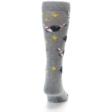 Image of Grey Bowling Men's Dress Socks (back-19)