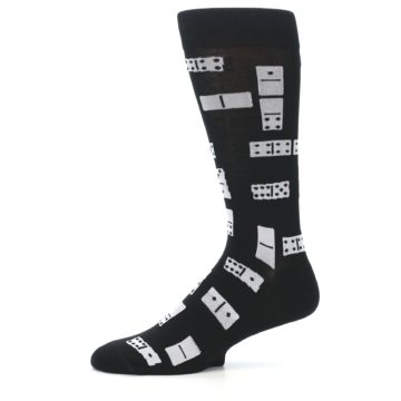 Image of Black White Dominos Men's Dress Socks (side-2-11)