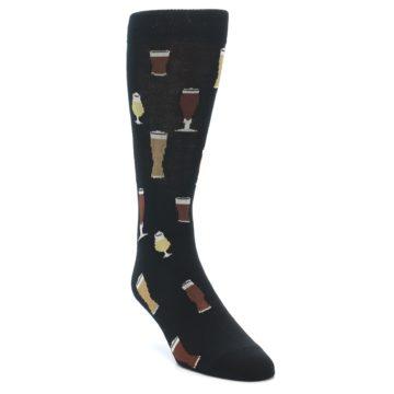Image of Black Craft Beer Glass Men's Dress Socks (side-1-front-02)