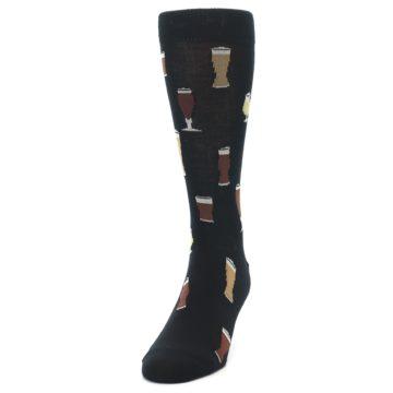 Image of Black Craft Beer Glass Men's Dress Socks (side-2-front-06)
