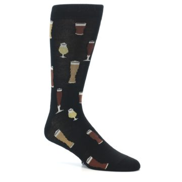 Image of Black Craft Beer Glass Men's Dress Socks (side-1-26)
