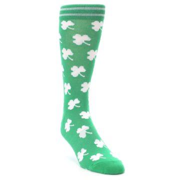 Image of Green White Shamrock Lucky Clover Men's Dress Socks (side-1-front-02)
