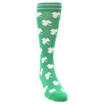Image of Green White Shamrock Lucky Clover Men's Dress Socks (side-1-front-03)
