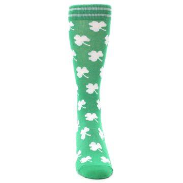 Image of Green White Shamrock Lucky Clover Men's Dress Socks (front-04)