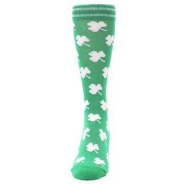 Image of Green White Shamrock Lucky Clover Men's Dress Socks (front-05)