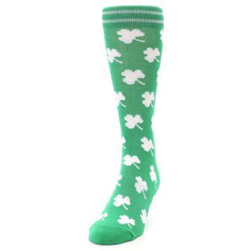 Image of Green White Shamrock Lucky Clover Men's Dress Socks (side-2-front-06)