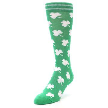 Image of Green White Shamrock Lucky Clover Men's Dress Socks (side-2-front-07)