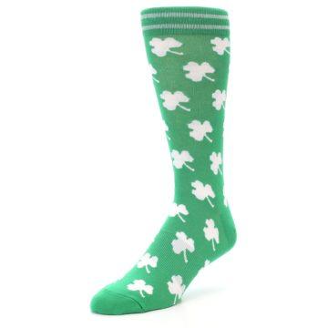 Image of Green White Shamrock Lucky Clover Men's Dress Socks (side-2-front-08)