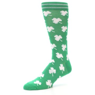 Image of Green White Shamrock Lucky Clover Men's Dress Socks (side-2-09)