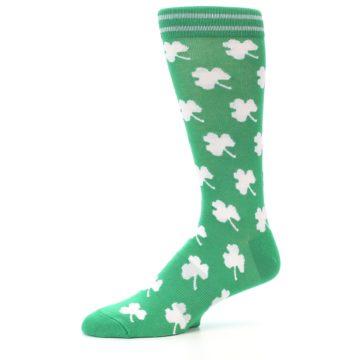 Image of Green White Shamrock Lucky Clover Men's Dress Socks (side-2-10)