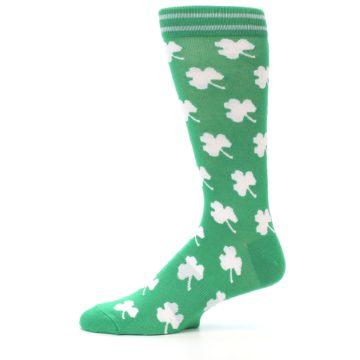 Image of Green White Shamrock Lucky Clover Men's Dress Socks (side-2-11)