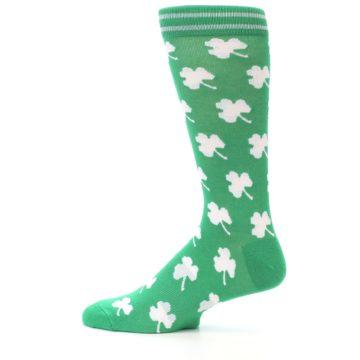 Image of Green White Shamrock Lucky Clover Men's Dress Socks (side-2-12)