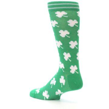 Image of Green White Shamrock Lucky Clover Men's Dress Socks (side-2-back-14)