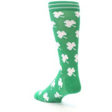 Image of Green White Shamrock Lucky Clover Men's Dress Socks (side-2-back-15)