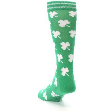Image of Green White Shamrock Lucky Clover Men's Dress Socks (side-2-back-16)