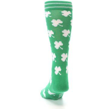 Image of Green White Shamrock Lucky Clover Men's Dress Socks (back-17)