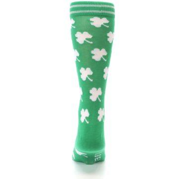 Image of Green White Shamrock Lucky Clover Men's Dress Socks (back-18)