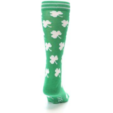 Image of Green White Shamrock Lucky Clover Men's Dress Socks (back-19)