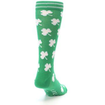 Image of Green White Shamrock Lucky Clover Men's Dress Socks (side-1-back-20)