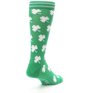 Image of Green White Shamrock Lucky Clover Men's Dress Socks (side-1-back-21)