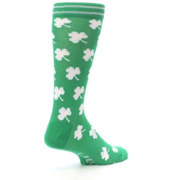 Image of Green White Shamrock Lucky Clover Men's Dress Socks (side-1-back-22)