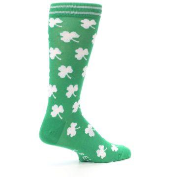 Image of Green White Shamrock Lucky Clover Men's Dress Socks (side-1-23)