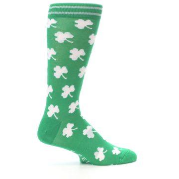 Image of Green White Shamrock Lucky Clover Men's Dress Socks (side-1-24)
