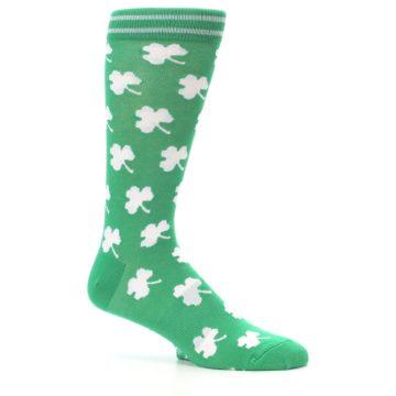 Image of Green White Shamrock Lucky Clover Men's Dress Socks (side-1-25)