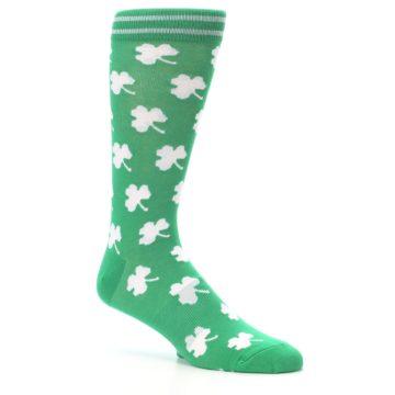 Image of Green White Shamrock Lucky Clover Men's Dress Socks (side-1-26)
