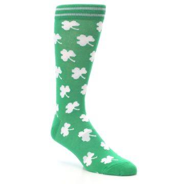 Image of Green White Shamrock Lucky Clover Men's Dress Socks (side-1-27)